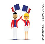 france flag waving man and woman | Shutterstock .eps vector #1189129723