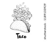 hand drawn taco. sketch style... | Shutterstock .eps vector #1189133929