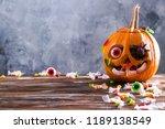 Orange Pumpkin Carved Into Jac...