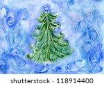 christmas tree  watercolor...   Shutterstock . vector #118914400
