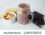 banana and chocolate smoothie...   Shutterstock . vector #1189150033