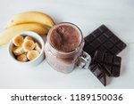 banana and chocolate smoothie... | Shutterstock . vector #1189150036