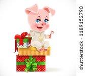 cute cartoon baby pig sit on... | Shutterstock .eps vector #1189152790