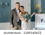 stylish bride with short hair...   Shutterstock . vector #1189160623
