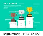 gold  silver and bronze trophy... | Shutterstock .eps vector #1189165429
