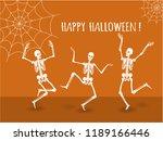 three dancing skeletons on an... | Shutterstock .eps vector #1189166446