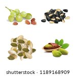 set of pistachios  seeds ... | Shutterstock .eps vector #1189168909