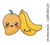 kawaii cartoon mango and... | Shutterstock .eps vector #1189183120
