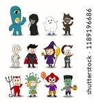 set of halloween cartoon... | Shutterstock .eps vector #1189196686