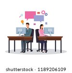 business workers and social... | Shutterstock .eps vector #1189206109