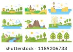 vector mini landscapes icons... | Shutterstock .eps vector #1189206733