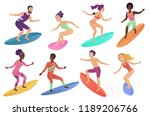 surfer people riding surfboards ... | Shutterstock .eps vector #1189206766