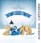 merry christmas background with ... | Shutterstock .eps vector #1189223806