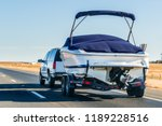 truck towing a  boat on the... | Shutterstock . vector #1189228516
