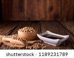 soy sauce with soy bean on... | Shutterstock . vector #1189231789