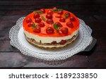 strawberry cream cheese cake on ... | Shutterstock . vector #1189233850