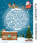 santa claus maze game template... | Shutterstock .eps vector #1189235773