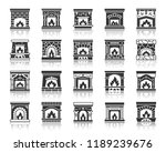 fireplace silhouette icons set. ... | Shutterstock .eps vector #1189239676
