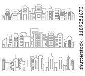 set of modern city skyscrapers...   Shutterstock .eps vector #1189251673