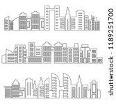 set of modern city skyscrapers...   Shutterstock .eps vector #1189251700