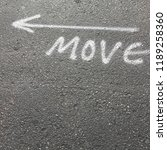 move with arrow written in... | Shutterstock . vector #1189258360