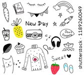 dooldle new day collection... | Shutterstock .eps vector #1189260049