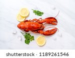 freshly boiled red lobster with ... | Shutterstock . vector #1189261546