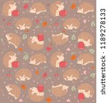 doodle hedgehog cheerful pattern | Shutterstock .eps vector #1189278133