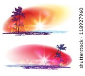 Stock vector exotic palm trees background banners 118927960