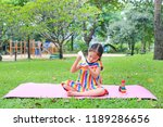 adorable little asian child... | Shutterstock . vector #1189286656