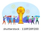 people stand near big soccer... | Shutterstock .eps vector #1189289200