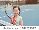 young asian girl tennis player... | Shutterstock . vector #1189294519