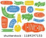hand drawn set of speech...   Shutterstock .eps vector #1189297153