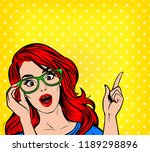 young woman pointing up....   Shutterstock .eps vector #1189298896