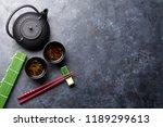green tea and sushi chopsticks. ... | Shutterstock . vector #1189299613