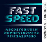 fast speed alphabet font. wind... | Shutterstock .eps vector #1189303213