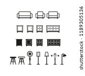 home furnishing icon set | Shutterstock .eps vector #1189305136