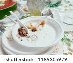 dirty plastic plates at... | Shutterstock . vector #1189305979