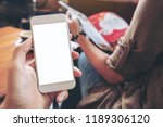 mockup image of hand holding...   Shutterstock . vector #1189306120
