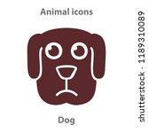 dog face in cartoon flat style. ... | Shutterstock .eps vector #1189310089