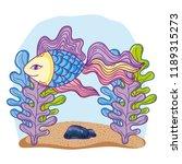 fish undersea cartoon | Shutterstock .eps vector #1189315273