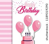 happy birthday with cake and... | Shutterstock .eps vector #1189319290