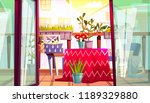 balcony with table and chairs... | Shutterstock .eps vector #1189329880