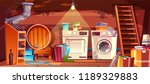 cellar with leakage flood and... | Shutterstock .eps vector #1189329883