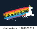 cute unicorn vector.rainbow... | Shutterstock .eps vector #1189332019