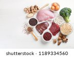 iron rich foods.  healthy diet... | Shutterstock . vector #1189334560