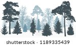 silhouette of winter snowy... | Shutterstock .eps vector #1189335439