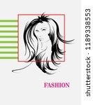 beauty girl face on a white...   Shutterstock .eps vector #1189338553