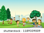 children playing at the park... | Shutterstock .eps vector #1189339009