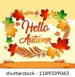 autumn leaf on orange template... | Shutterstock .eps vector #1189339063